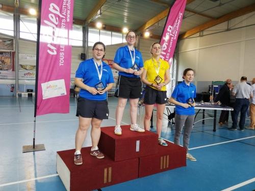 Nationaux A 2019. Podium juniors dames, Valentine, Jesabelle et laura sur le podium