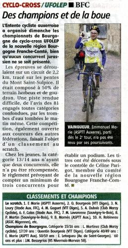 0- Emmanuel Marie, champion de Bourgogne 2018  FC toutes catégories en cyclo-cross. Source YR